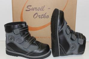 Сурсил-Орто (лечебная антивальгусная обувь) Ботинки Сапоги без утепления высокие берцы демисезон лето 23-208-1 Черный-серый