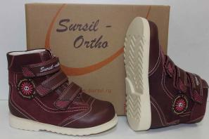 Сурсил-Орто (лечебная антивальгусная обувь) Ботинки Сапоги без утепления высокие берцы демисезон лето 23-217 Бордовый